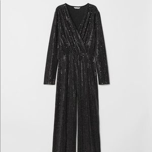 Black Sequin Glitter Pant Jumpsuit